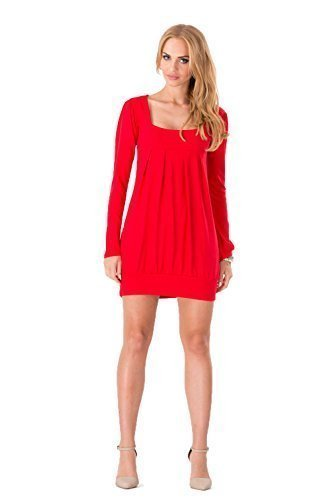 Futuro Fashion Magnifique Femmes Mini Robe Col Carré Tunique Manches Longues 2534 Rouge