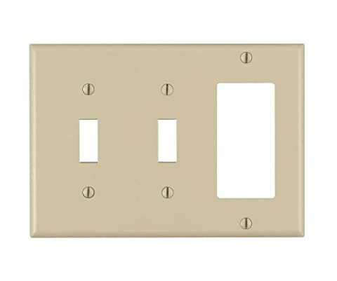 Leviton 80421-I 3-Gang 2-Toggle 1-Decora/GFCI Device Combination Wallplate, Standard Size,