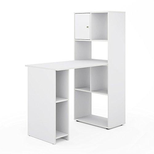 vicco schreibtisch regalkombination 144 x 114 cm wei computer tisch b ro pc regal. Black Bedroom Furniture Sets. Home Design Ideas