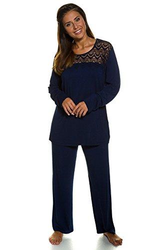 Ulla Popken Femme Grandes tailles Ensembles de pyjama - Confortable Pyjama Manches Longues pour hiver 707324 bleu fumée