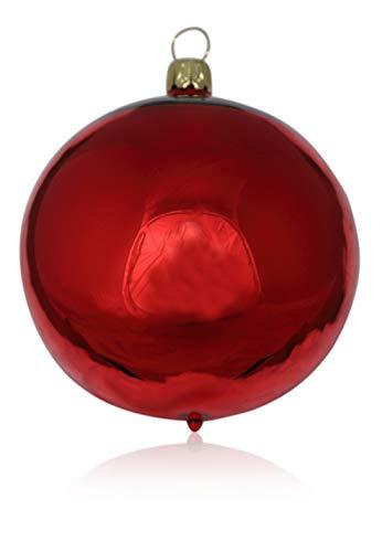 n rot Glanz 4 Stück d 10cm Christbaumschmuck Weihnachtsschmuck mundgeblasen,handdekoriert Original (rot Glanz) ()