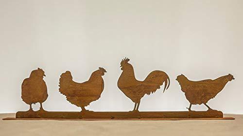 Dekostüberl Edelrost Geflügel auf Bodenplatte (3 Hühner/1Hahn) 64x12cm, inkl. Herz 8x6cm Ostern Gartendeko