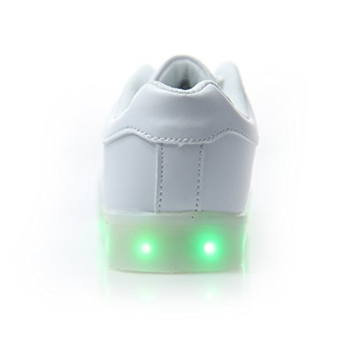 Dogeek Unisexe / Hommes Lumineux Led Chaussures Sneakers Chaussures Avec Des Lumières Allument Les Chaussures De Sport Pour Hommes Blancs