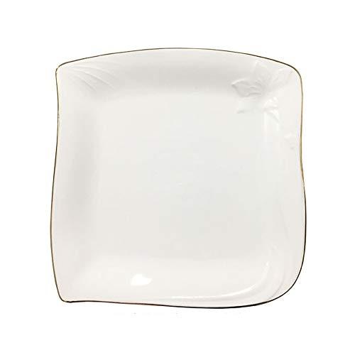 Keramik Westernplatte Steakplatte quadratische Platte kreative nordische einfache Haushaltsgeschirr Phnom Penh Platte Goldrand 10 Zoll - 10 Zoll Mikrowelle Glas