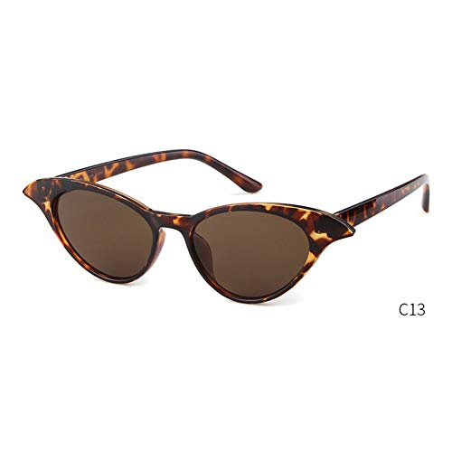 ZRTYJ Sonnenbrille Cat Eye Sonnenbrille Frauen Markendesigner Vintage Cateye Frame Schmale Retro Lady Sonnenbrille Shades