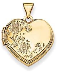 14K 18mm Polished Heart-Shaped Floral Locket by UKGems