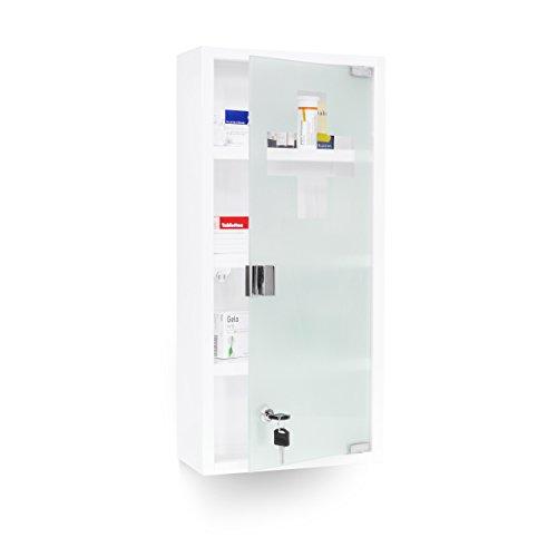 Relaxdays 10018518 - Armario para medicamentos, puerta de vidrio acero, 27 x 57 x 12 cm