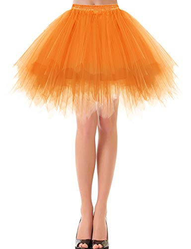 bbonlinedress Kurz Retro Petticoat Rock Ballett Blase 50er Tutu Unterrock Orange S