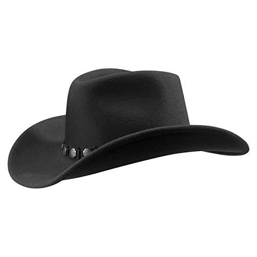 Stetson Hackberry Traveller für Herren Cowboyhut Wollhut mit Lederband Sommer Winter (M (56-57 cm) - schwarz)