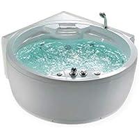 Whirlpool bañera Florencia CON 14 BOQUILLA DE MASAJE+Calefacción+DESINFECCIÓN del ozono + Iluminación / LUZ + Cascada+ Radio - Bañera angular baño de burbujas