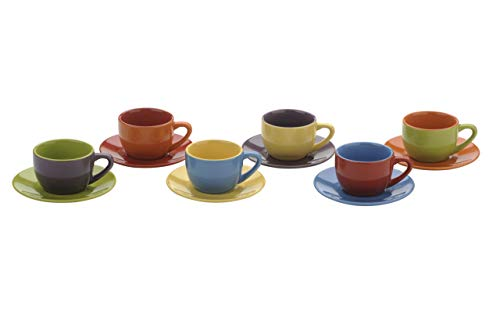 Colourful Cups & Mugs Set da 6 Harlequin Tazzine Espresso & piattini