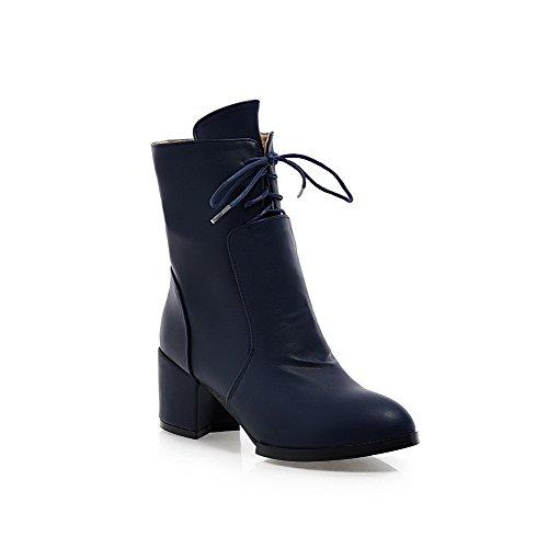 AgooLar Damen Reißverschluss Mittler Absatz PU Knöchel Hohe Stiefel, Schwarz-Lackleder, 38