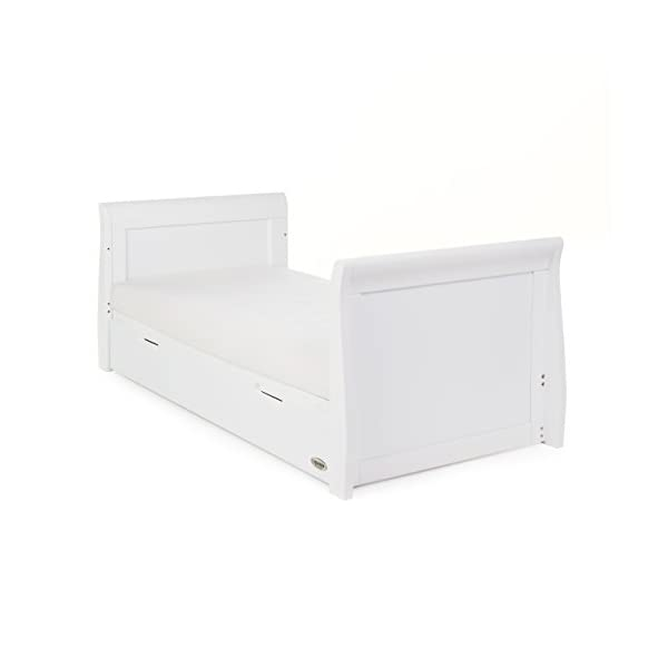 Obaby Stamford Sleigh Classic Cot Bed - White Obaby Adjustable 3 position mattress height Bed ends split to transforms into toddler bed Includes matching under drawer for storage 2
