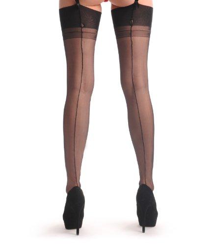 Black Stockings With Black Seam - Nero Calze Taglia Unica (34-40)