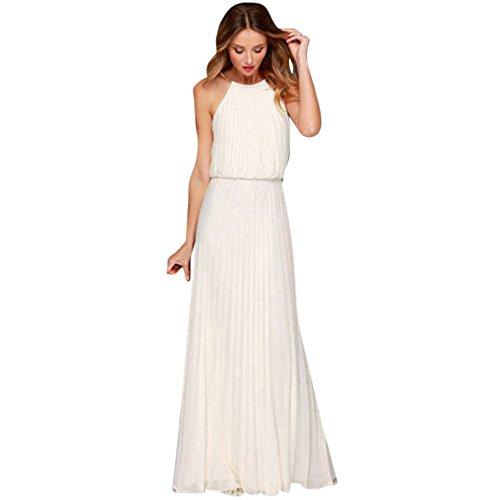 VEMOW Elegant Damen Ballkleid Brautkleid Formeller Chiffon Ärmellose Halfter Abendkleider Langes Maxikleid S-XL(Weiß, ()