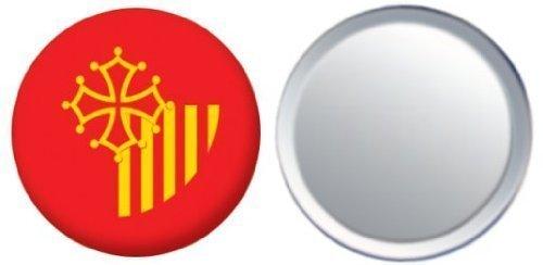 Miroir insigne de bouton France Languedoc Roussillon drapeau - 58mm