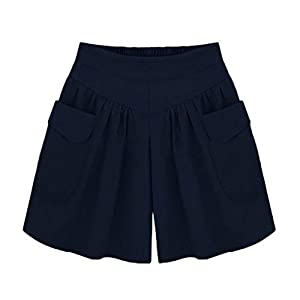AOGOTO Frauen Shorts Plus Size Solide Lose Hot Pants Taschen Lady Summer Casual Shorts