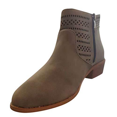 LANSKRLSP Stivaletti Donna con Tacco Stivali Cuoio Flat Invernale Moda Bassi Blocco Zeppa Eleganti 4cm Comode Ankle Boots Chelsea