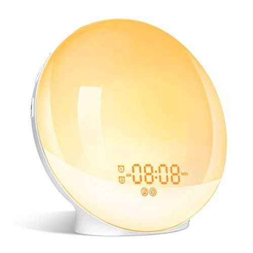 HSJLH Wake-up Light, Sonnenaufgang und Sonnenuntergang analoge FM-Radiowecker Schlummer Sieben Arten von natürlichen Klängen und Umgebungsbeleuchtung intelligente Touch-Control-Funktion
