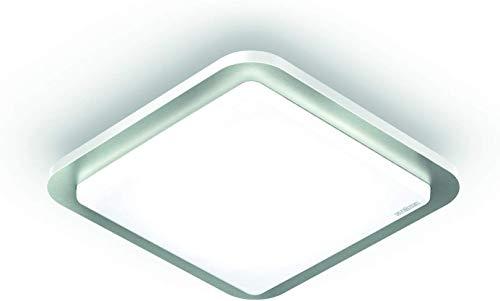 Steinel LED Deckenleuchte RS LED D2 V3 Edelstahl, 9.5 W Deckenlampe, 360° Bewegungsmelder, Nachtlicht, Dauerlicht