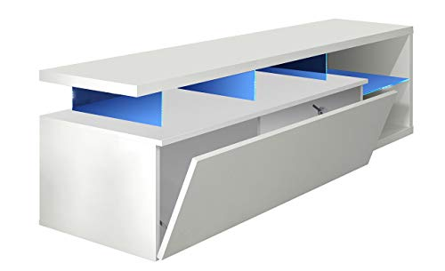 Habitdesign 026630BO - Modulo de TV Moderno, Mueble Salon, Color Blanco Brillo...