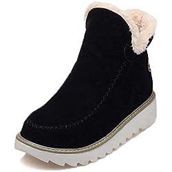 Botas De Nieve Mujer Invierno Aire Libre Altas Calentar Forrado Botines Snow Ankle Boots Zapatos De Cuña 3cm Negro 38