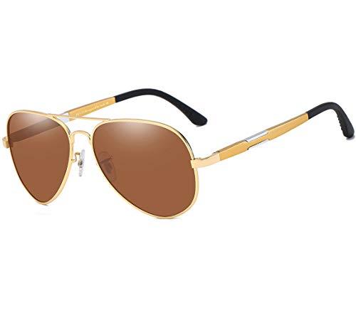 DUCO Unisex Fliegerbrille Polarisierte Sonnenbrille, Pilotenbrille mit Federscharnier, Etui und Putztuch (Gelb)