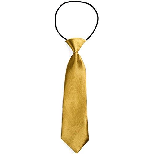 atte Kinder Krawatte im Seidenlook glänzend – 7,0 cm breit – mit elastischem Gummiband - Gold (60er Kostüme Für Kinder)