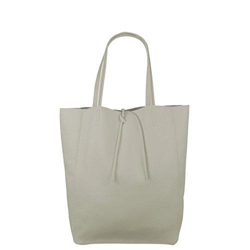 Damen Echtleder Shopper mit Innentasche in vielen Farben Schultertasche Henkeltasche Metallic look (Creme)