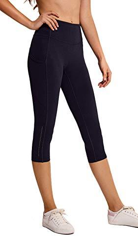 Ecupper Damen Sport Capri Leggings 3/4 High Waist mit Taschen Yogahose Jogginghose Schwarz DE40 -