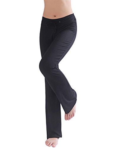 HOEREV Doux Modal Minceur Lounge Pantalon yoga pantalon de pyjama femmes Pant Noir
