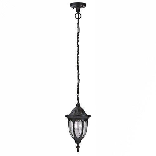 Rustikale Außen Pendelleuchte Schwarz Kette Laterne IP43 E27 Gartenlampe Haus Balkon Terrasse MILANO -
