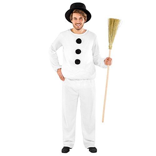Herrenkostüm Schneemann | kuschliges Oberteil mit langen Ärmeln | bequeme Hose mit Gummizug | Zylinder (M | Nr. 300465) (Weihnachtsfeier Kostüm Ideen Für Erwachsene)