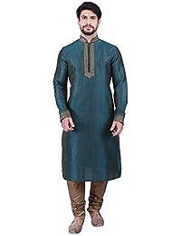 Manyavar Men's Full Sleeve Regular Fit Self-Designed Kurta & Churidar Set