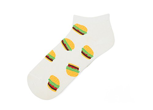 KnöChel-Jungen-MäDchen-WeißE Baumwolle Spaß-Lustige Neuheit Jugend Funky Nette Hamburger Socken Socks (Womens Quartal Socken)