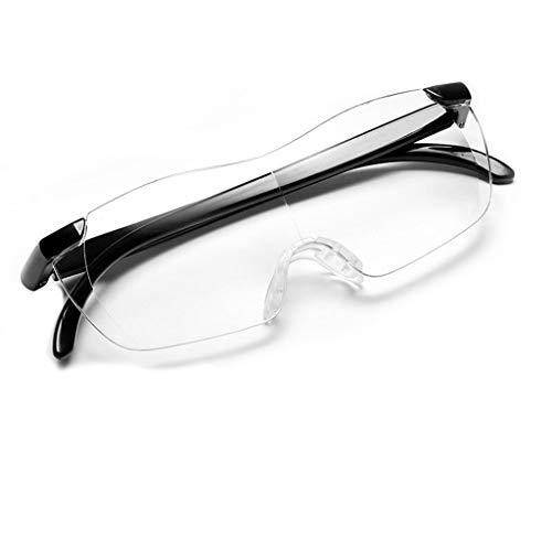 Leselupe, tragbare randlose Brille 250 Grad, transparentes, ultraklares Material kann mit Lupe überlagert Werden
