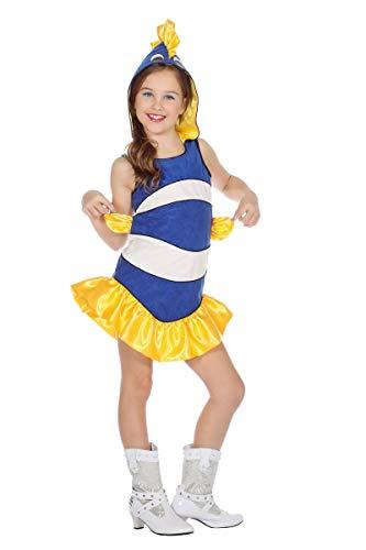 Wilbers Kinder Kostüm tropischer Fisch blau-weiß Karneval Fasching Gr.104 (Tropischer Fisch Kostüm)
