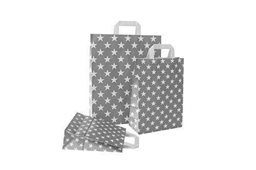 PGV Papiertragetaschen mit Flachhenkel Sterne GRAU (22 + 10 x 31 cm, 50 Stück)