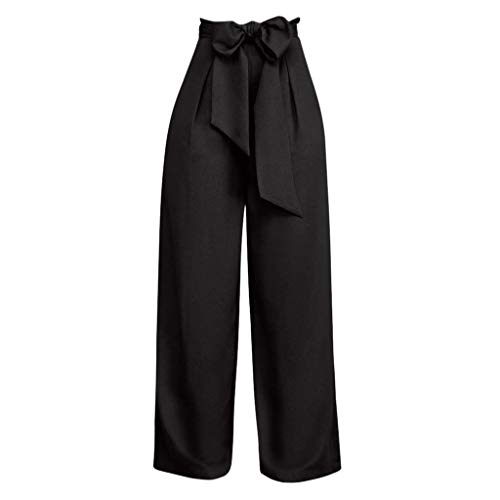 Yvelands Damen Hose, Einfarbig Palazzo Weite Hose Hohe Taille Schnürung Lose Culottes Hose Lässig(Schwarz,M)