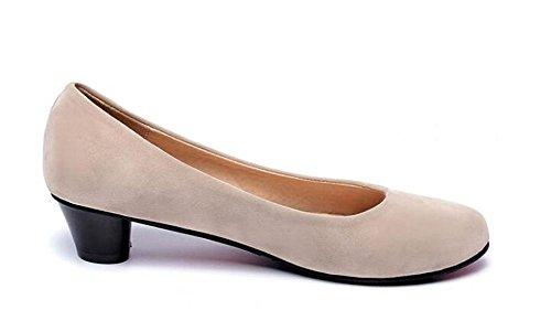 Casamento toe Salto Ocasionais Escritórios Biger Pedaços Round Bege Sapatos Mulheres Pbxp 43 31 Vintage Dentro Bombas Tamanho Baixo Personalizado Do Camurça Europa q0wnAXPg