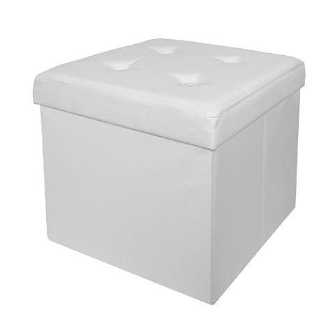 SoBuy® FSS27-W XXL 48x48x48cm, Coffre de Rangement, Cube Pouf Dé