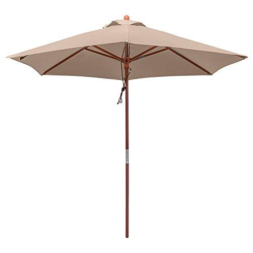 anndora 25003 Sonnenschirm, dunkelnatur, 250 cm rund, Gestell Holz, Bespannung Polyester, 8 kg