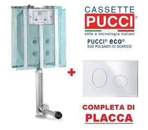CASSETTA A MURO ECO PUCCI DA INCASSO DOPPIO PULSANTE PLACCA BIANCA 9L