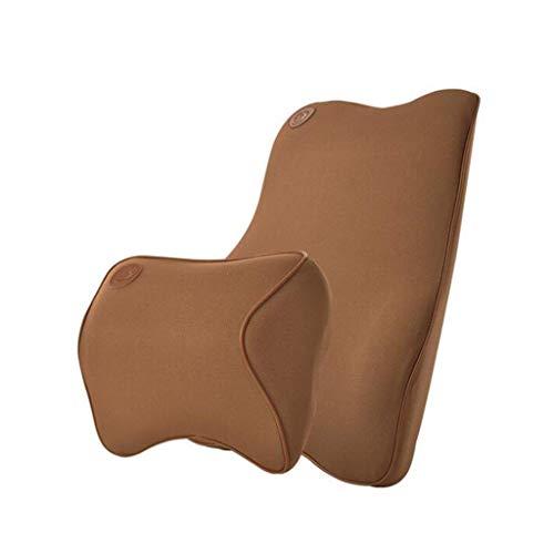 ShiBin Sitzbezüge Autofahrer Taille auf Memory Cotton Nackenkissen Autositz Rückenkissen Kopfkissen Zervikale Nackenkissen Sitzbezügesets (Color : Brown)