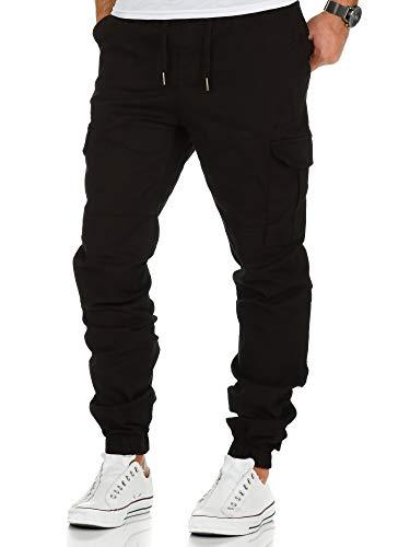 Amaci&Sons Herren Stretch Jogger Cargo Chino Jeans Hose 7006 Schwarz W34