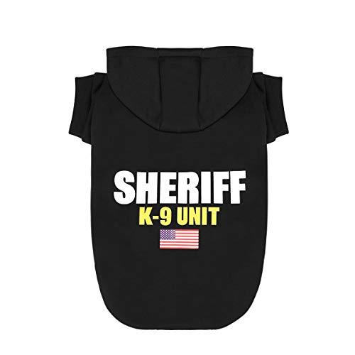 Scheppend Kapuzenpullover, für kleine und mittelgroße Hunde und Katzen, Baumwolle, mit Sheriff-K-9, Small, schwarz (Sheriff Kostüm Jungen)