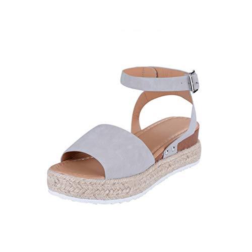 Sandals Women Wedges Shoes Pumps High Heels Sandals Summer Sandalia Feminina 2019 Chaussures Femme Platform Flip Flop Gray 40