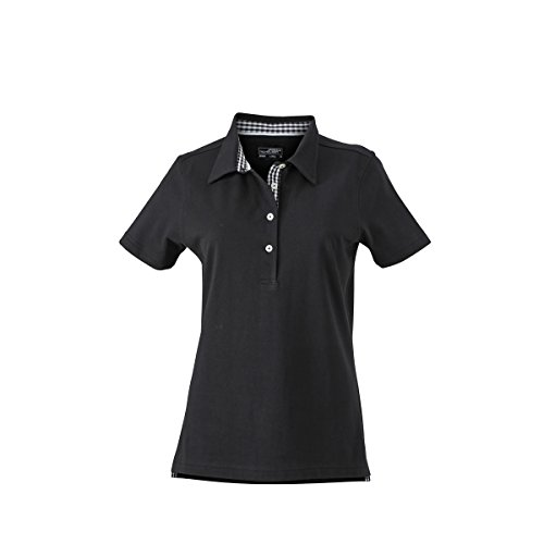 JAMES & NICHOLSON Damen Poloshirt, Einfarbig noir (inserts noir/blanc)