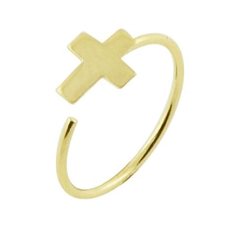 14CT Solid Yellow Gold Flat Cross Top 22 Gauge -