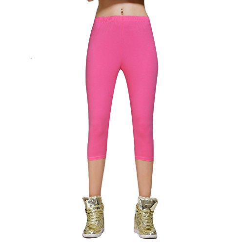 DIAMONDKIT cotton stretch capri legging de sport doublé pour femme Rose - Rosa - Dunkelrosa